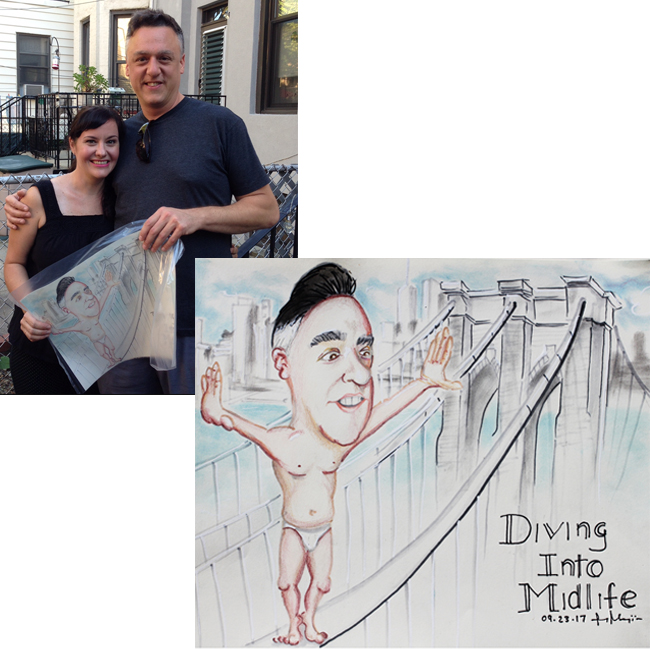 Caricatures By Ruy of a couple happily holding there finished caricature.